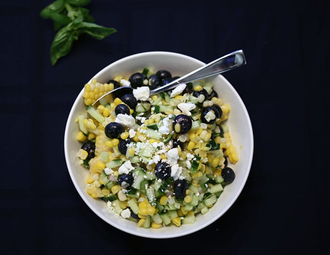 blueberry corn salad with basil